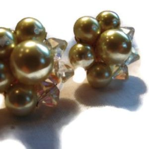 Cafe au lait clip earrings crystal beads